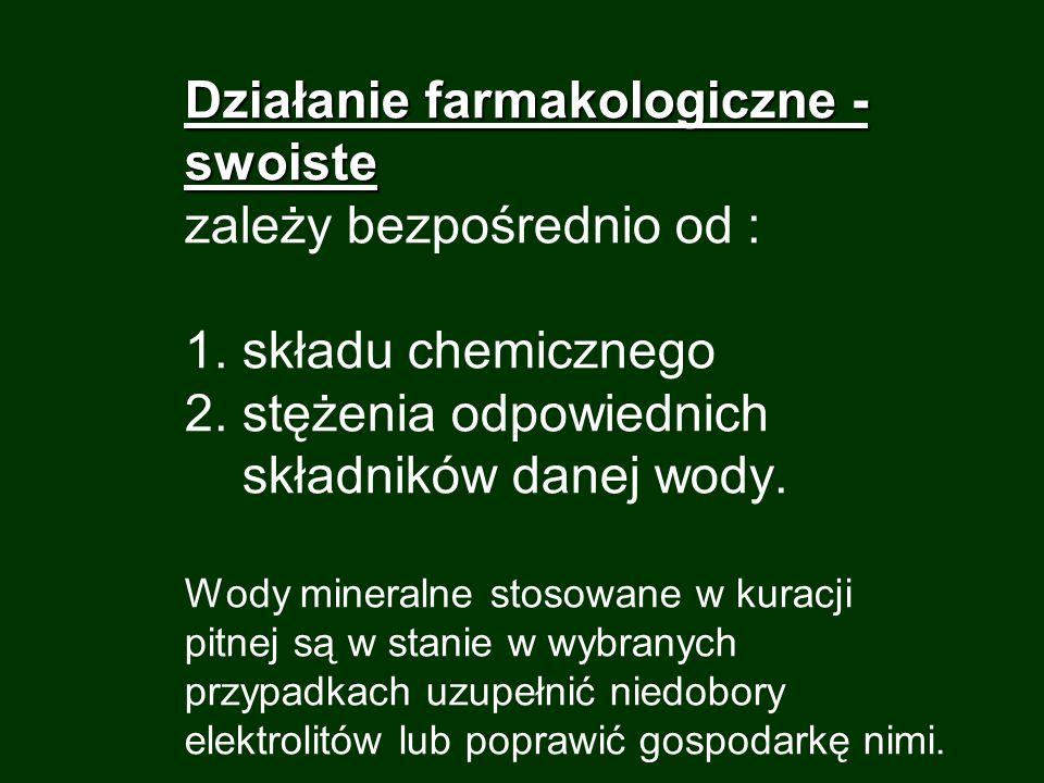 1. Działanie farmakologiczne - swoiste 1. Działanie farmakologiczne - swoiste zależy bezpośrednio od : 1. składu chemicznego 2. stężenia odpowiednich