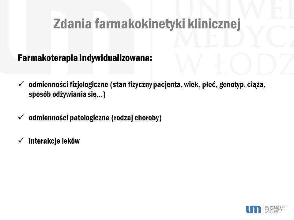 Zdania farmakokinetyki klinicznej Farmakoterapia indywidualizowana: odmienności fizjologiczne (stan fizyczny pacjenta, wiek, płeć, genotyp, ciąża, sposób odżywiania się…) odmienności patologiczne (rodzaj choroby) interakcje leków