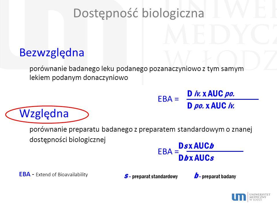 Dostępność biologiczna Bezwzględna porównanie badanego leku podanego pozanaczyniowo z tym samym lekiem podanym donaczyniowo EBA = Względna porównanie preparatu badanego z preparatem standardowym o znanej dostępności biologicznej EBA = EBA - Extend of Bioavailability D iv.