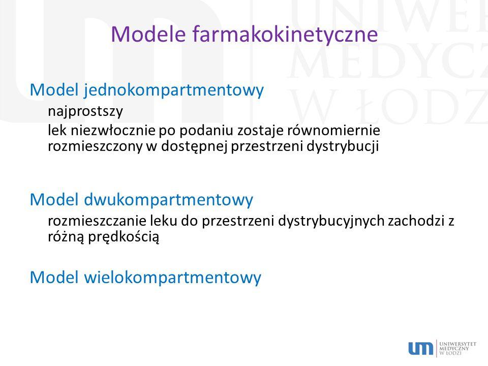 Modele farmakokinetyczne Model jednokompartmentowy najprostszy lek niezwłocznie po podaniu zostaje równomiernie rozmieszczony w dostępnej przestrzeni dystrybucji Model dwukompartmentowy rozmieszczanie leku do przestrzeni dystrybucyjnych zachodzi z różną prędkością Model wielokompartmentowy