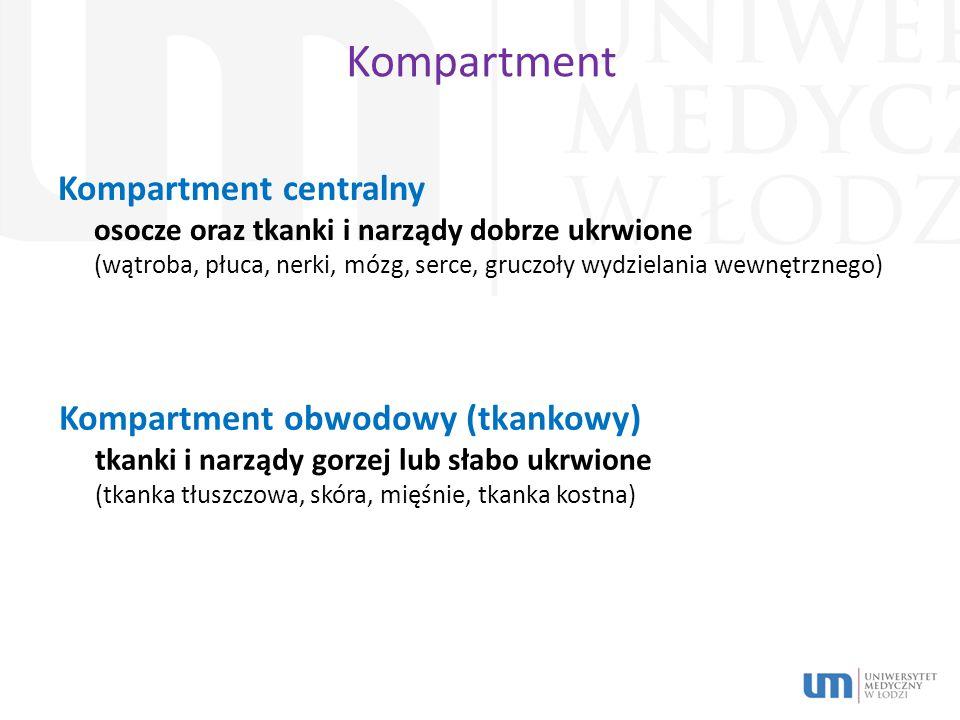 Kompartment Kompartment centralny osocze oraz tkanki i narządy dobrze ukrwione (wątroba, płuca, nerki, mózg, serce, gruczoły wydzielania wewnętrznego) Kompartment obwodowy (tkankowy) tkanki i narządy gorzej lub słabo ukrwione (tkanka tłuszczowa, skóra, mięśnie, tkanka kostna)