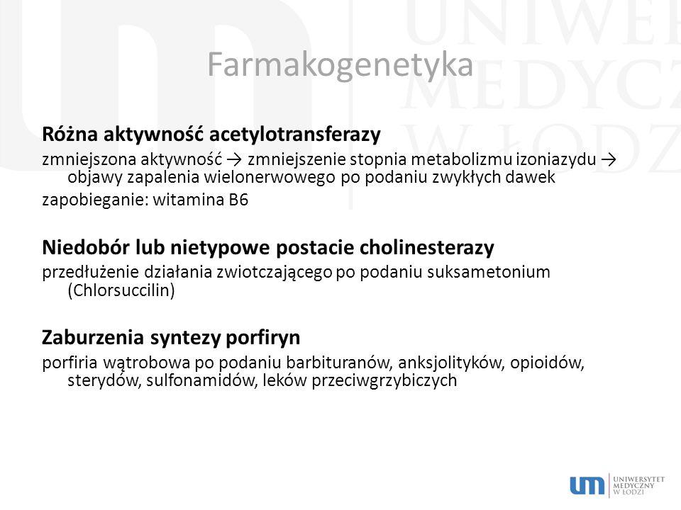 Farmakogenetyka Różna aktywność acetylotransferazy zmniejszona aktywność → zmniejszenie stopnia metabolizmu izoniazydu → objawy zapalenia wielonerwowego po podaniu zwykłych dawek zapobieganie: witamina B6 Niedobór lub nietypowe postacie cholinesterazy przedłużenie działania zwiotczającego po podaniu suksametonium (Chlorsuccilin) Zaburzenia syntezy porfiryn porfiria wątrobowa po podaniu barbituranów, anksjolityków, opioidów, sterydów, sulfonamidów, leków przeciwgrzybiczych