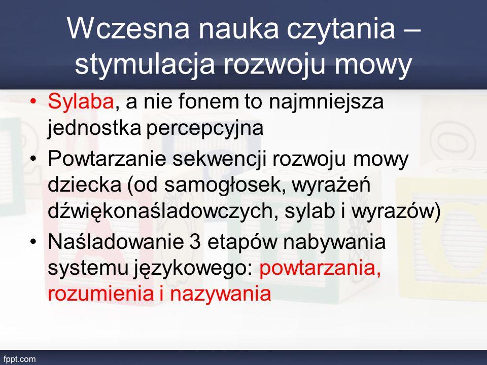 Wczesna nauka czytania – stymulacja rozwoju mowy Sylaba, a nie fonem to najmniejsza jednostka percepcyjna Powtarzanie sekwencji rozwoju mowy dziecka (od samogłosek, wyrażeń dźwiękonaśladowczych, sylab i wyrazów) Naśladowanie 3 etapów nabywania systemu językowego: powtarzania, rozumienia i nazywania