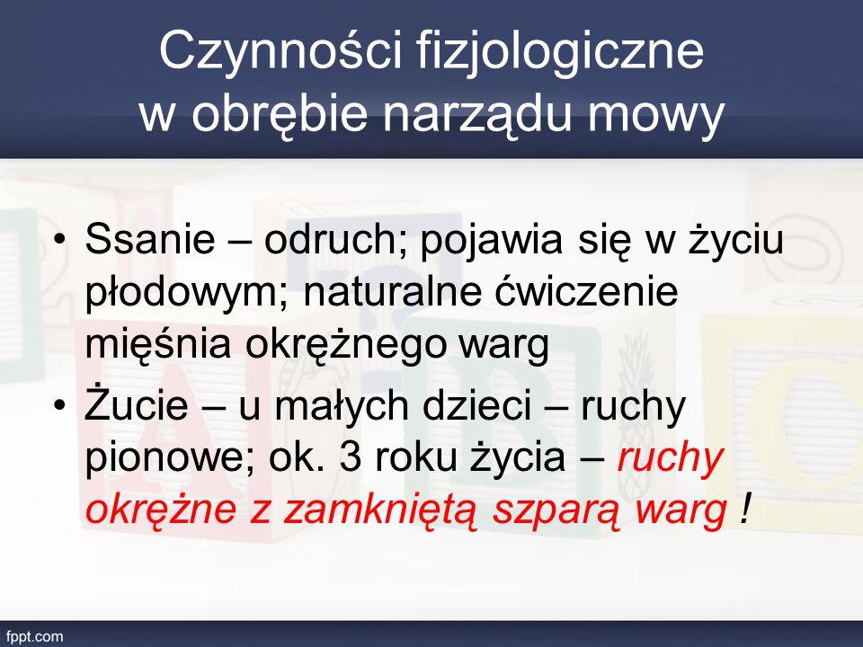 Czynności fizjologiczne w obrębie narządu mowy Ssanie – odruch; pojawia się w życiu płodowym; naturalne ćwiczenie mięśnia okrężnego warg Żucie – u mał