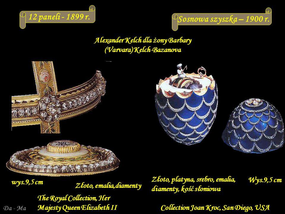 Da - Ma Alexander Kelch dla żony Barbary (Varvara) Kelch-Bazanova Jaja spoza Kolekcji Imperialnej Svyaz Vremyon Fund - Viktor Vekselberg collection - Moscow Wys.: 8,4 cm wys.
