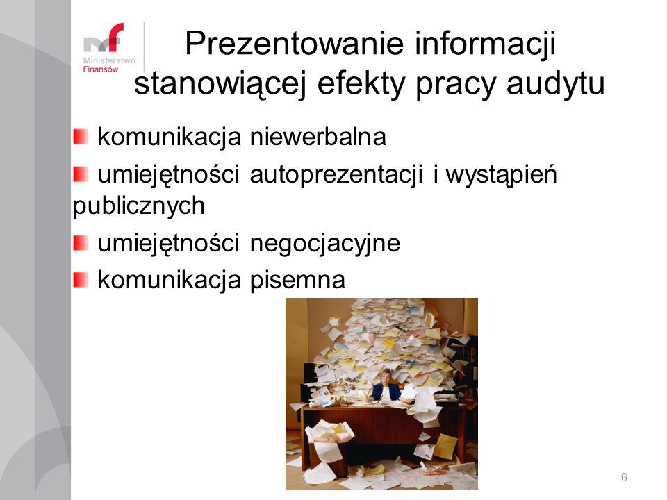 Produkty pracy audytu Informacje stanowiące wsparcie kierownika w procesie decyzyjnym Informacje z czynności doradczych Inne opinie Sprawozdanie 7