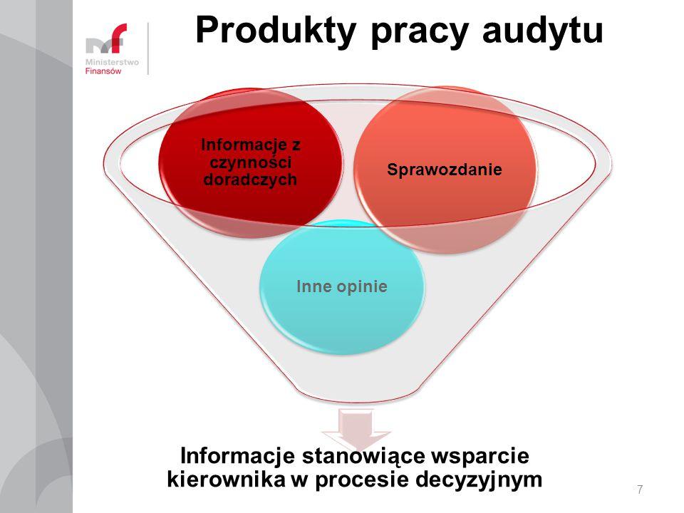 Jakość informacji dostarczanej przez audytoraProfesjonalizm selekcja informacji umiejętności analityczne i wnioskowania umiejętności formułowania zaleceń Informacja zarządcza 8