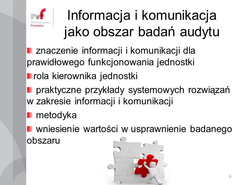 Informacja i komunikacja jako obszar badań audytu znaczenie informacji i komunikacji dla prawidłowego funkcjonowania jednostki rola kierownika jednost