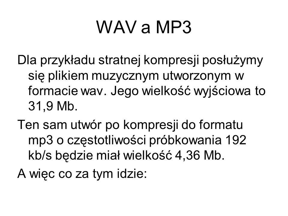 WAV a MP3 Dla przykładu stratnej kompresji posłużymy się plikiem muzycznym utworzonym w formacie wav. Jego wielkość wyjściowa to 31,9 Mb. Ten sam utwó