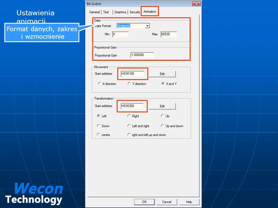 Ustawienia animacji Format danych, zakres i wzmocnienie