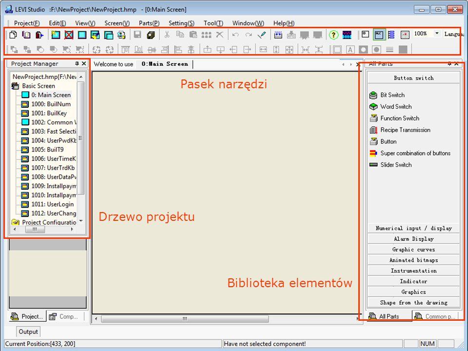 Biblioteka elementów Pasek narzędzi Drzewo projektu