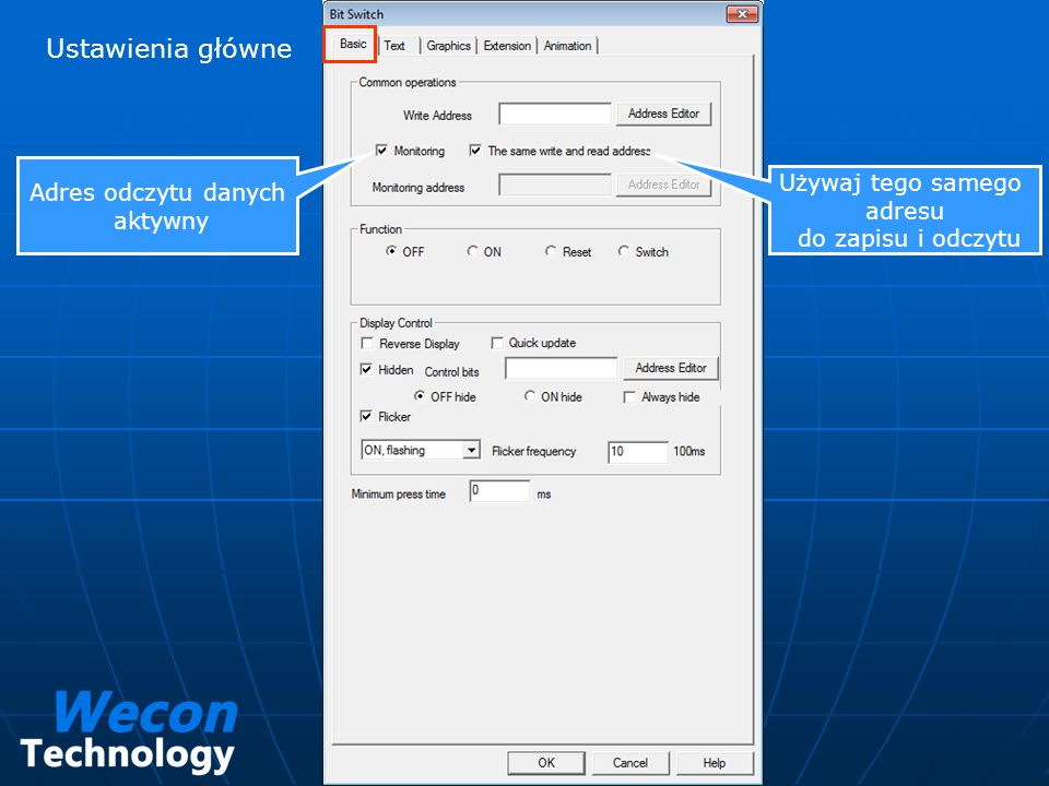 Ustawienia główne Adres odczytu danych aktywny Używaj tego samego adresu do zapisu i odczytu