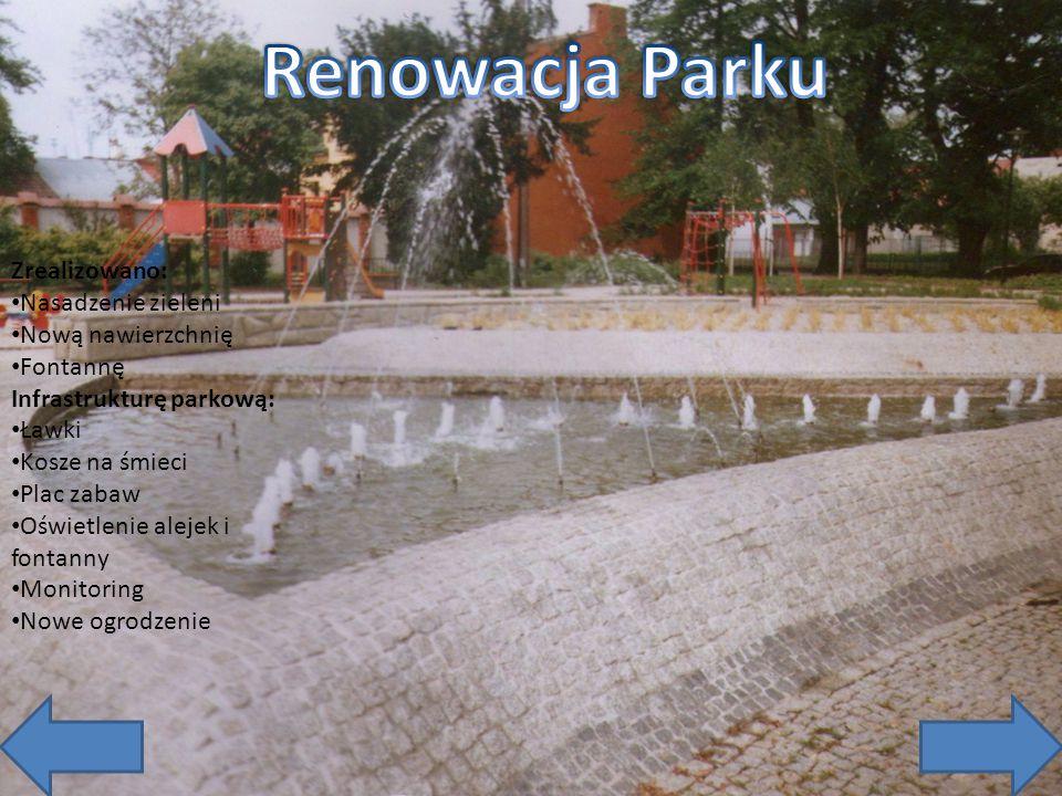 Zrealizowano: Nasadzenie zieleni Nową nawierzchnię Fontannę Infrastrukturę parkową: Ławki Kosze na śmieci Plac zabaw Oświetlenie alejek i fontanny Mon