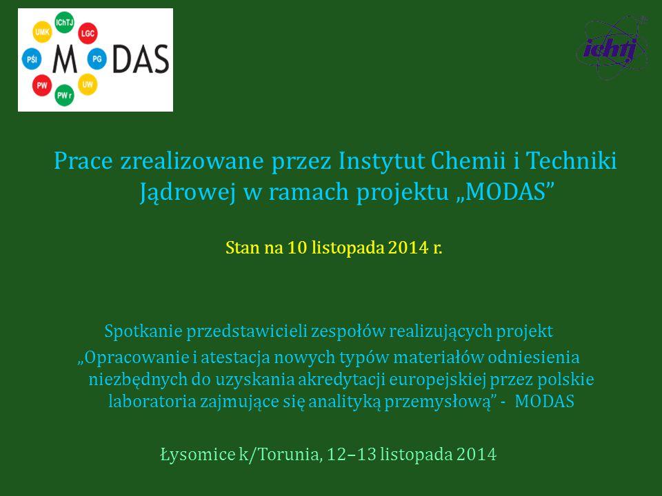 """Prace zrealizowane przez Instytut Chemii i Techniki Jądrowej w ramach projektu """"MODAS Stan na 10 listopada 2014 r."""