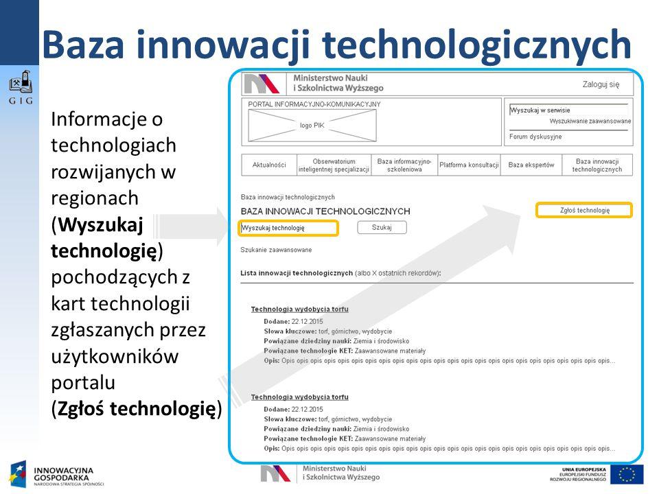 Baza innowacji technologicznych Informacje o technologiach rozwijanych w regionach (Wyszukaj technologię) pochodzących z kart technologii zgłaszanych przez użytkowników portalu (Zgłoś technologię)