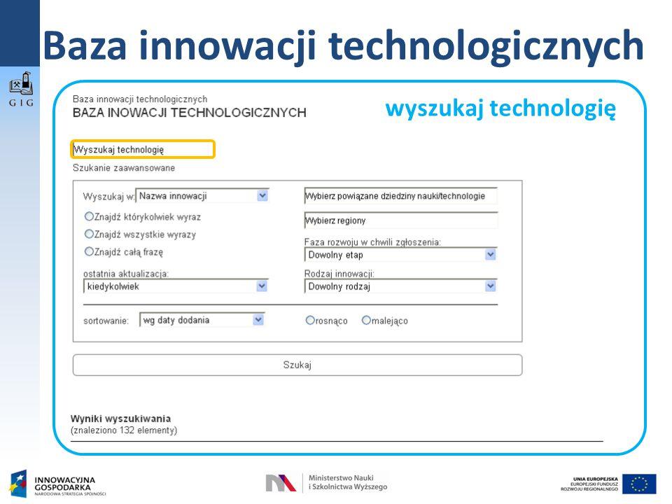 Baza innowacji technologicznych wyszukaj technologię