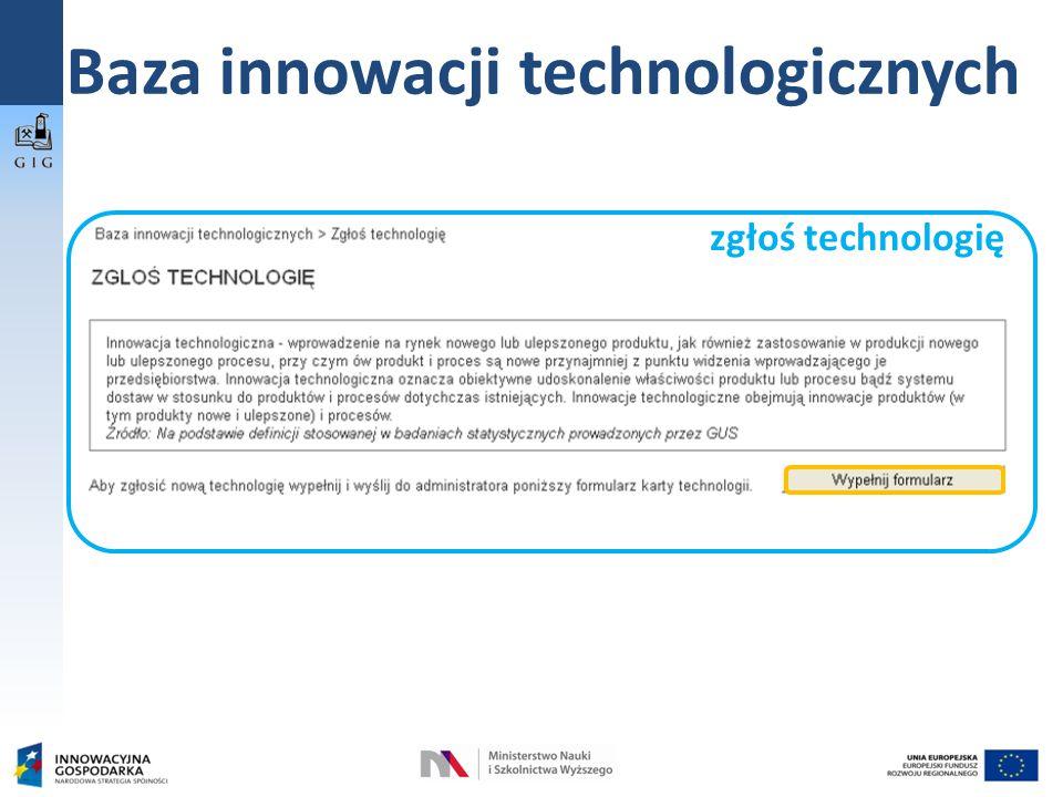 Baza innowacji technologicznych zgłoś technologię
