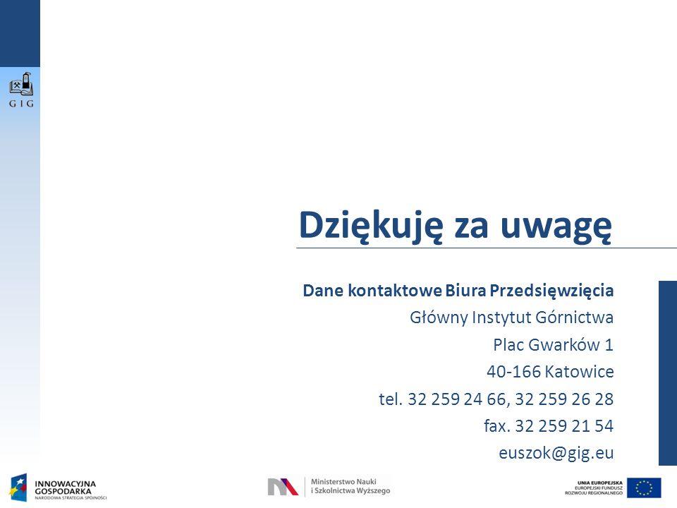 Dane kontaktowe Biura Przedsięwzięcia Główny Instytut Górnictwa Plac Gwarków 1 40-166 Katowice tel.