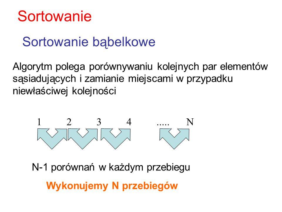 Algorytm polega porównywaniu kolejnych par elementów sąsiadujących i zamianie miejscami w przypadku niewłaściwej kolejności Sortowanie bąbelkowe Sorto