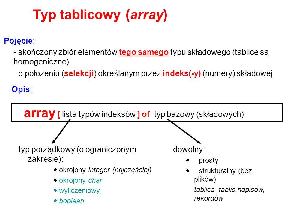 Typ tablicowy (array) array [ lista typów indeksów ] of typ bazowy (składowych) Pojęcie: - skończony zbiór elementów tego samego typu składowego (tabl