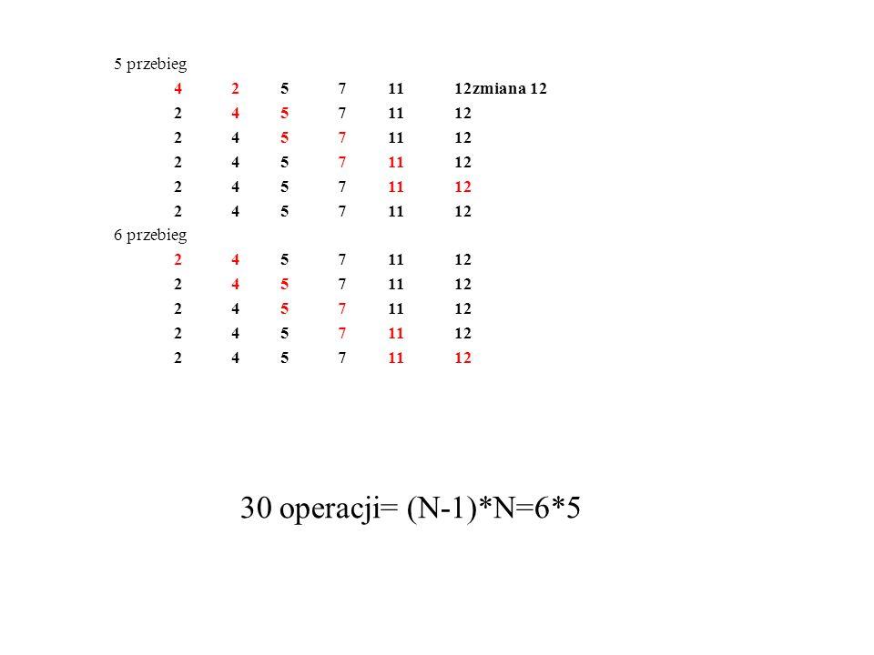 5 przebieg 4 2 5 71112zmiana 12 2 4 5 71112 6 przebieg 2 4 5 71112 30 operacji= (N-1)*N=6*5