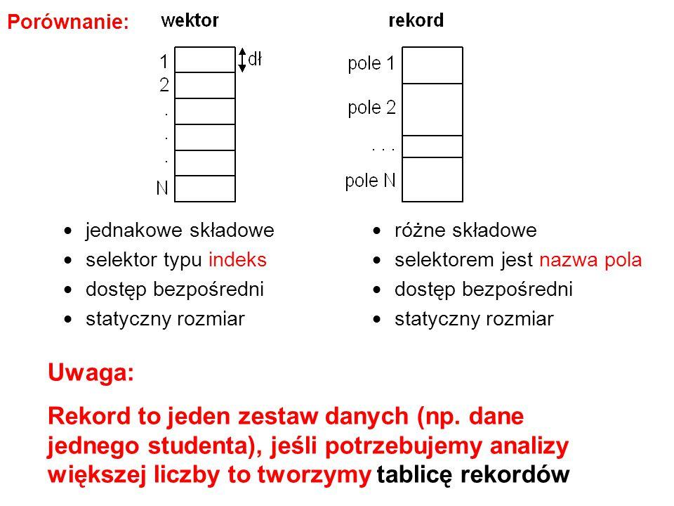  jednakowe składowe  selektor typu indeks  dostęp bezpośredni  statyczny rozmiar  różne składowe  selektorem jest nazwa pola  dostęp bezpośredn
