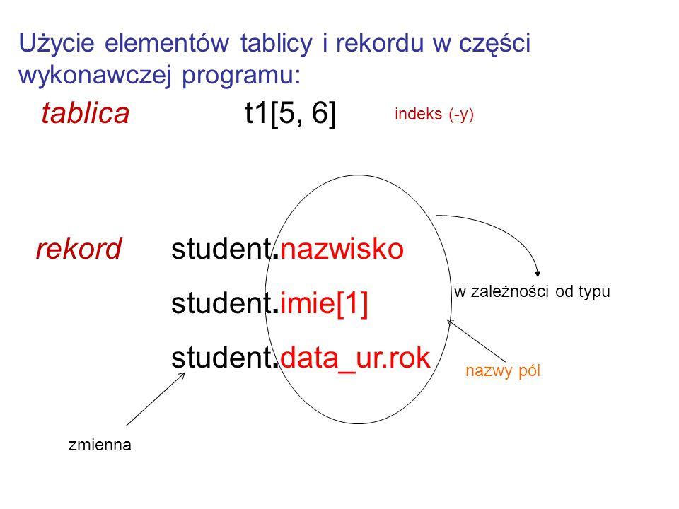 Użycie elementów tablicy i rekordu w części wykonawczej programu: tablicat1[5, 6] rekord student.nazwisko student.imie[1] student.data_ur.rok w zależn