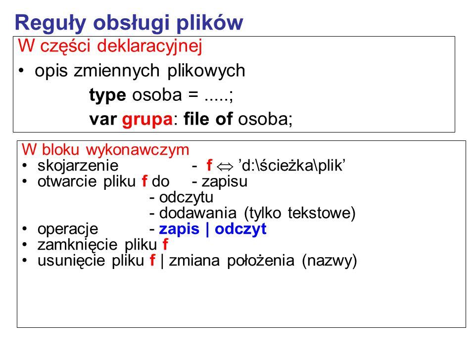 W bloku wykonawczym skojarzenie- f  'd:\ścieżka\plik' otwarcie pliku f do- zapisu - odczytu - dodawania (tylko tekstowe) operacje- zapis | odczyt zam