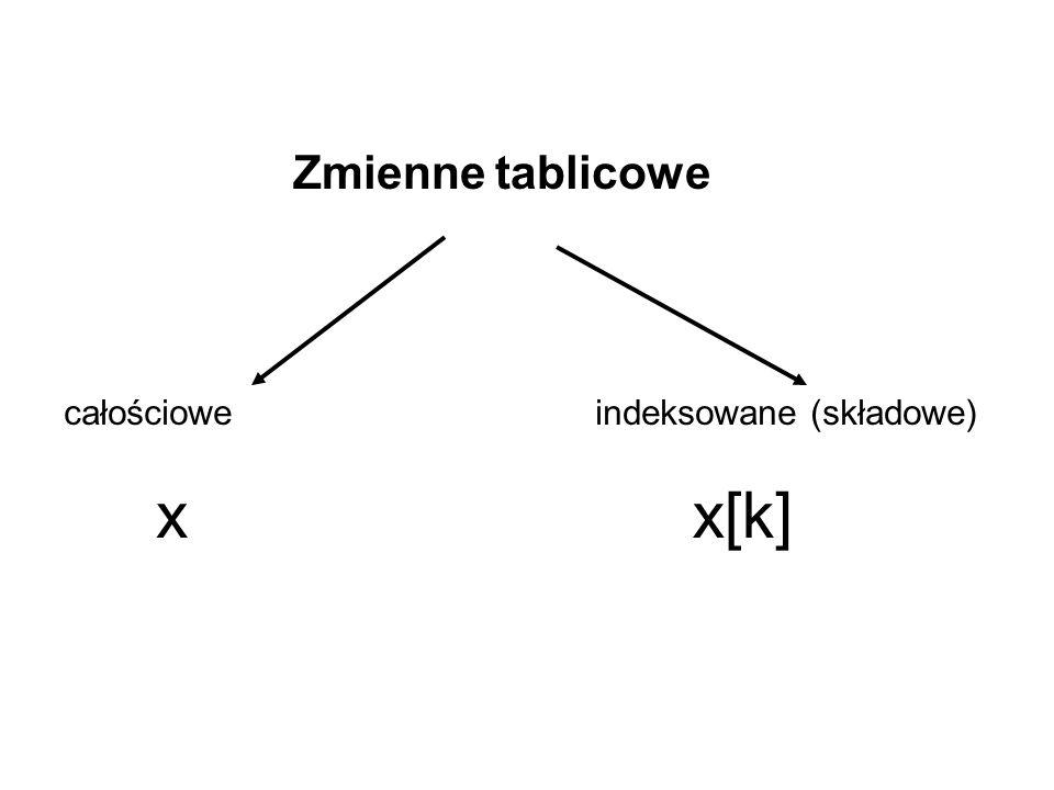 Zmienne tablicowe całościoweindeksowane (składowe) xx[k]