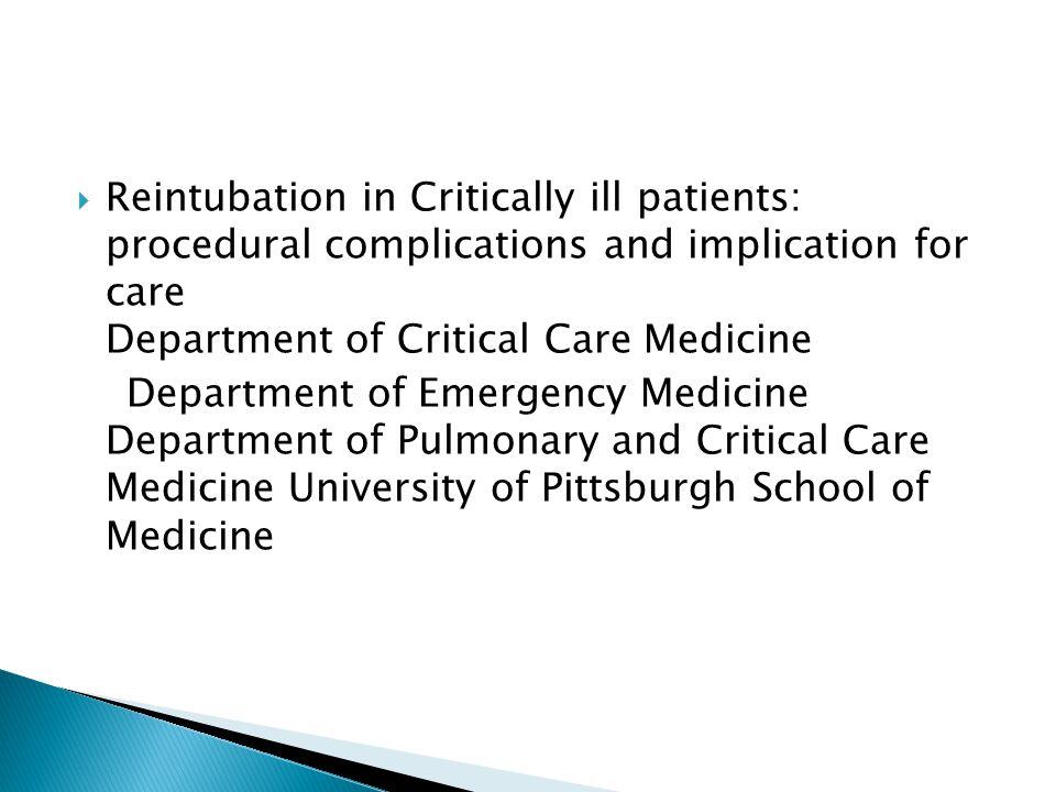  Metoda: -wtórna analiza prospektywnie gromadzonych danych rejestru wewnątrzszpitalnego -analiza pacjentów u których wykonano intubację poza blokiem operacyjnym i obszarami proceduralnymi podczas pojedynczej hospitalizacji
