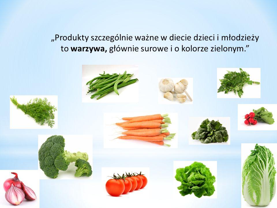 """""""Produkty szczególnie ważne w diecie dzieci i młodzieży to warzywa, głównie surowe i o kolorze zielonym."""""""