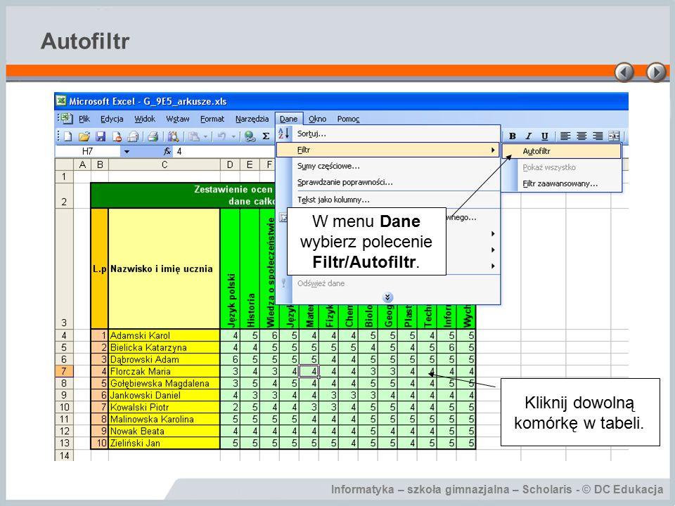 Informatyka – szkoła gimnazjalna – Scholaris - © DC Edukacja Autofiltr Kliknij dowolną komórkę w tabeli.