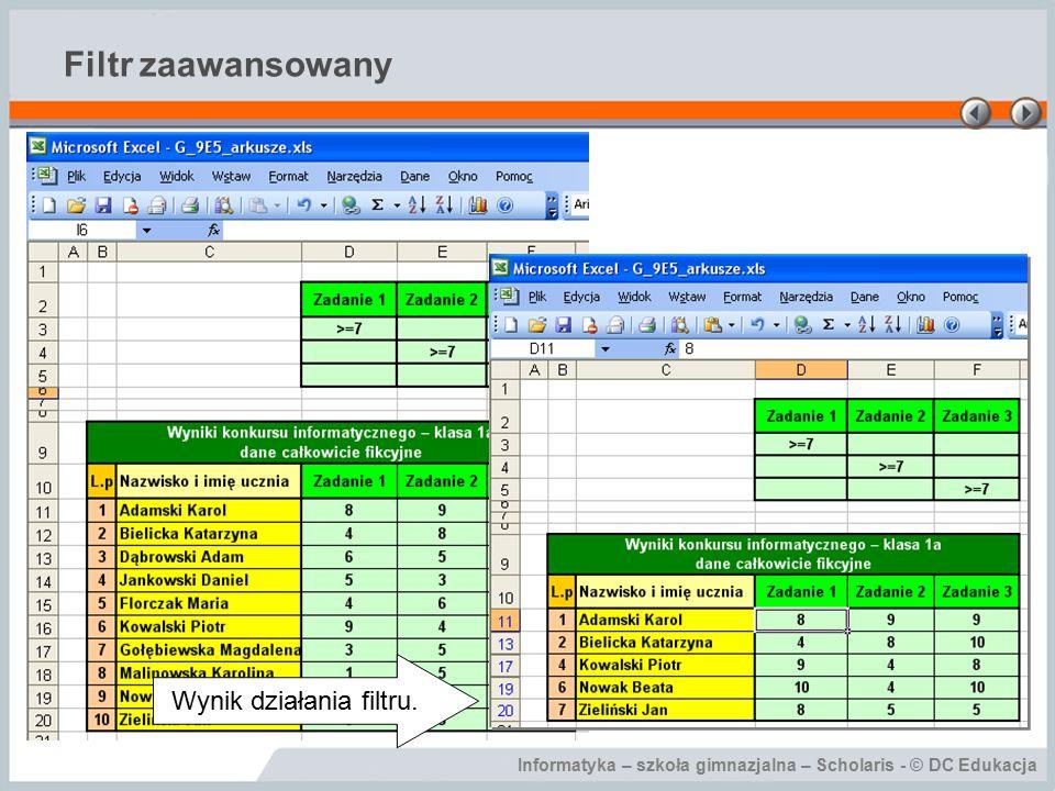 Informatyka – szkoła gimnazjalna – Scholaris - © DC Edukacja Filtr zaawansowany Wynik działania filtru.