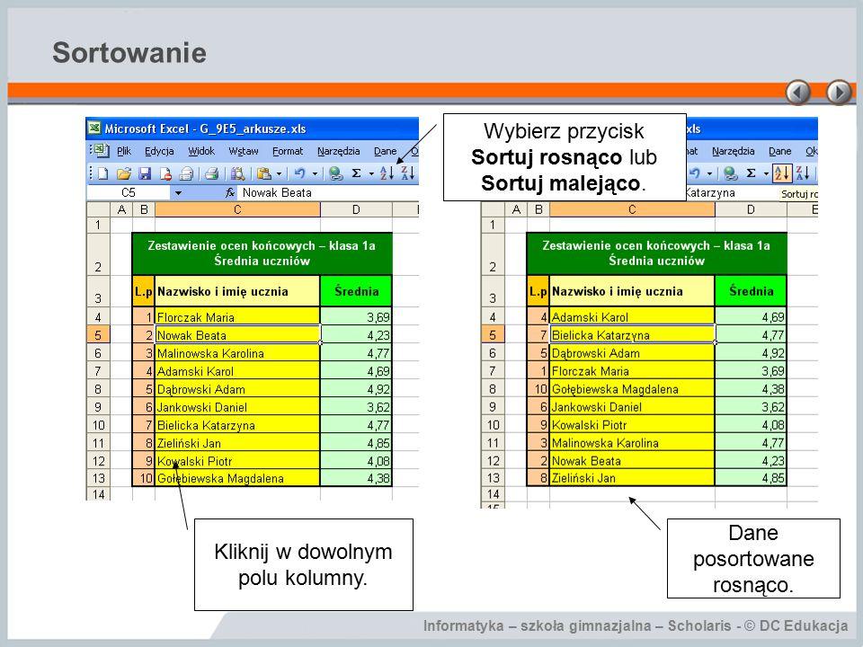 Informatyka – szkoła gimnazjalna – Scholaris - © DC Edukacja Sortowanie Kliknij w dowolnym polu kolumny.