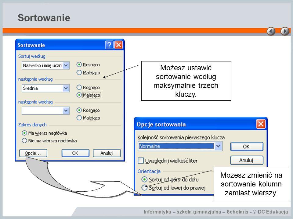 Informatyka – szkoła gimnazjalna – Scholaris - © DC Edukacja Sortowanie Możesz ustawić sortowanie według maksymalnie trzech kluczy.
