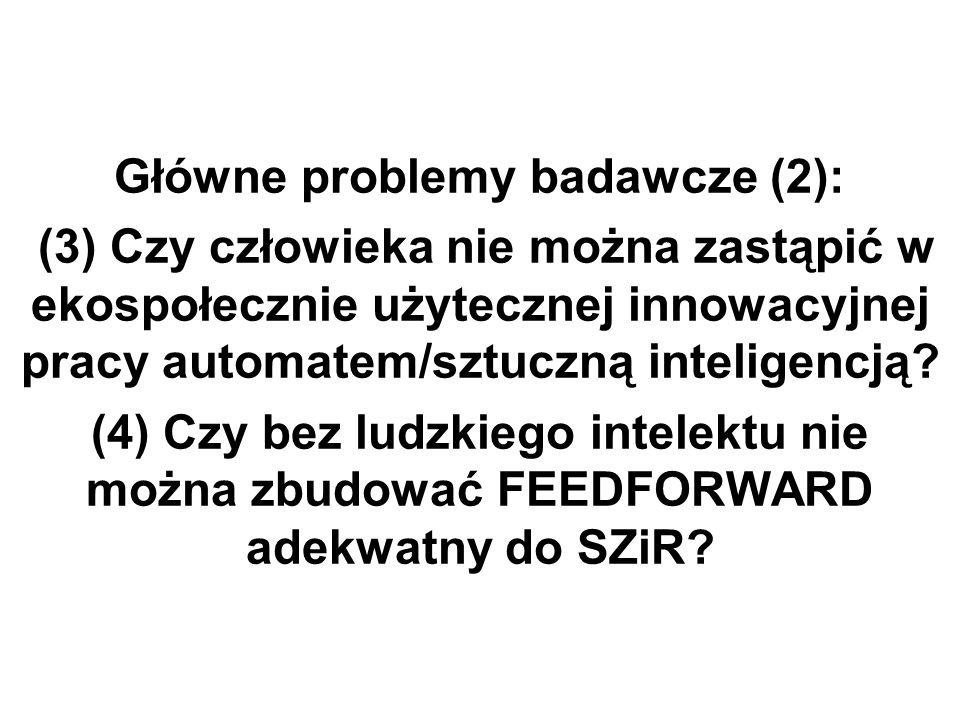 Główne problemy badawcze (2): (3) Czy człowieka nie można zastąpić w ekospołecznie użytecznej innowacyjnej pracy automatem/sztuczną inteligencją.