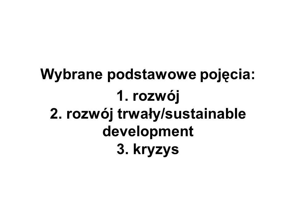 Wybrane podstawowe pojęcia: 1. rozwój 2. rozwój trwały/sustainable development 3. kryzys