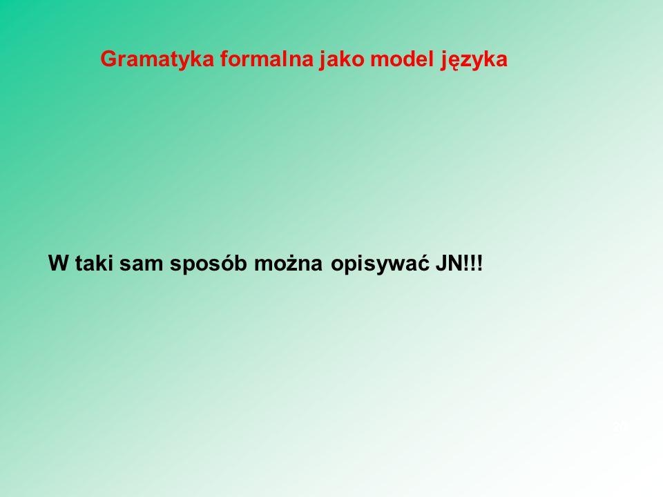 W taki sam sposób można opisywać JN!!! 20 Gramatyka formalna jako model języka