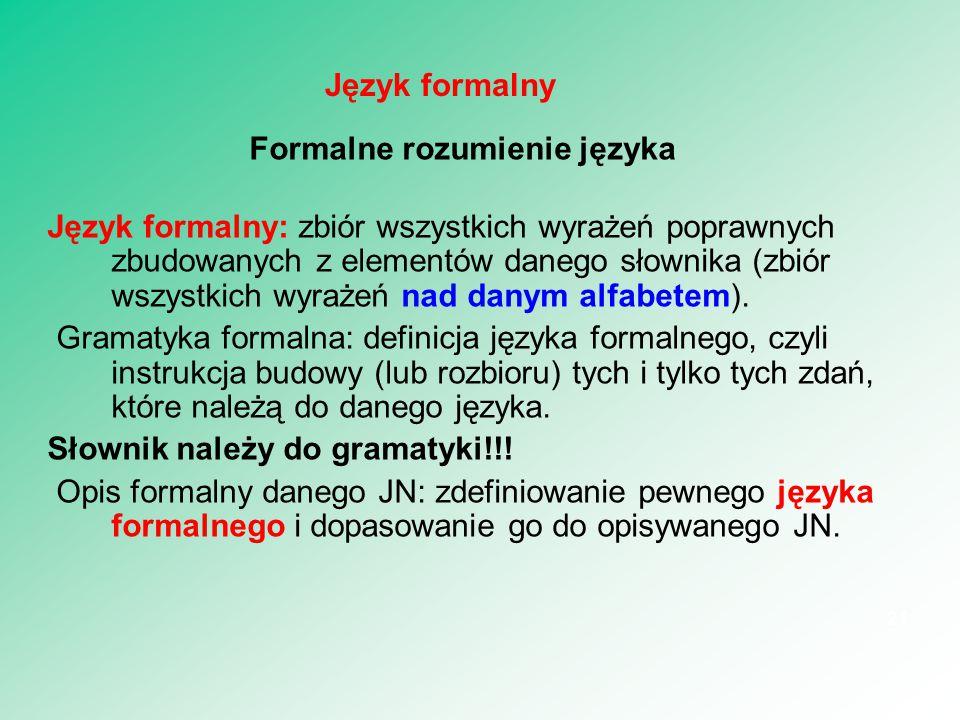 Formalne rozumienie języka Język formalny: zbiór wszystkich wyrażeń poprawnych zbudowanych z elementów danego słownika (zbiór wszystkich wyrażeń nad d