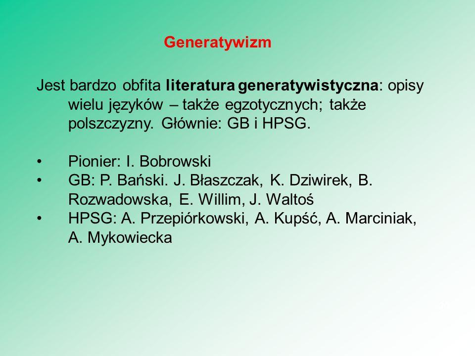 Jest bardzo obfita literatura generatywistyczna: opisy wielu języków – także egzotycznych; także polszczyzny. Głównie: GB i HPSG. Pionier: I. Bobrowsk