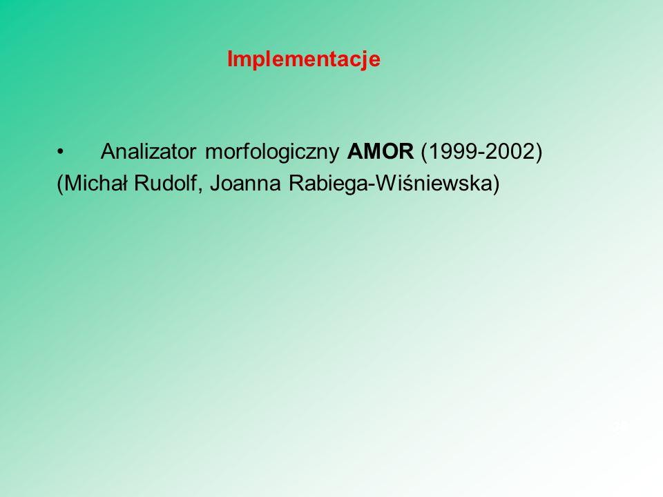 Analizator morfologiczny AMOR (1999-2002) (Michał Rudolf, Joanna Rabiega-Wiśniewska) 36 Implementacje
