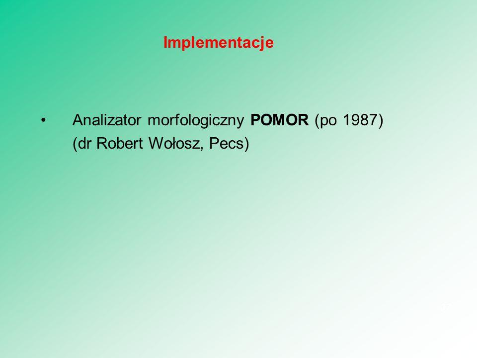 Analizator morfologiczny POMOR (po 1987) (dr Robert Wołosz, Pecs) 37 Implementacje