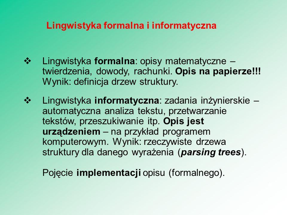  Lingwistyka formalna: opisy matematyczne – twierdzenia, dowody, rachunki. Opis na papierze!!! Wynik: definicja drzew struktury.  Lingwistyka inform