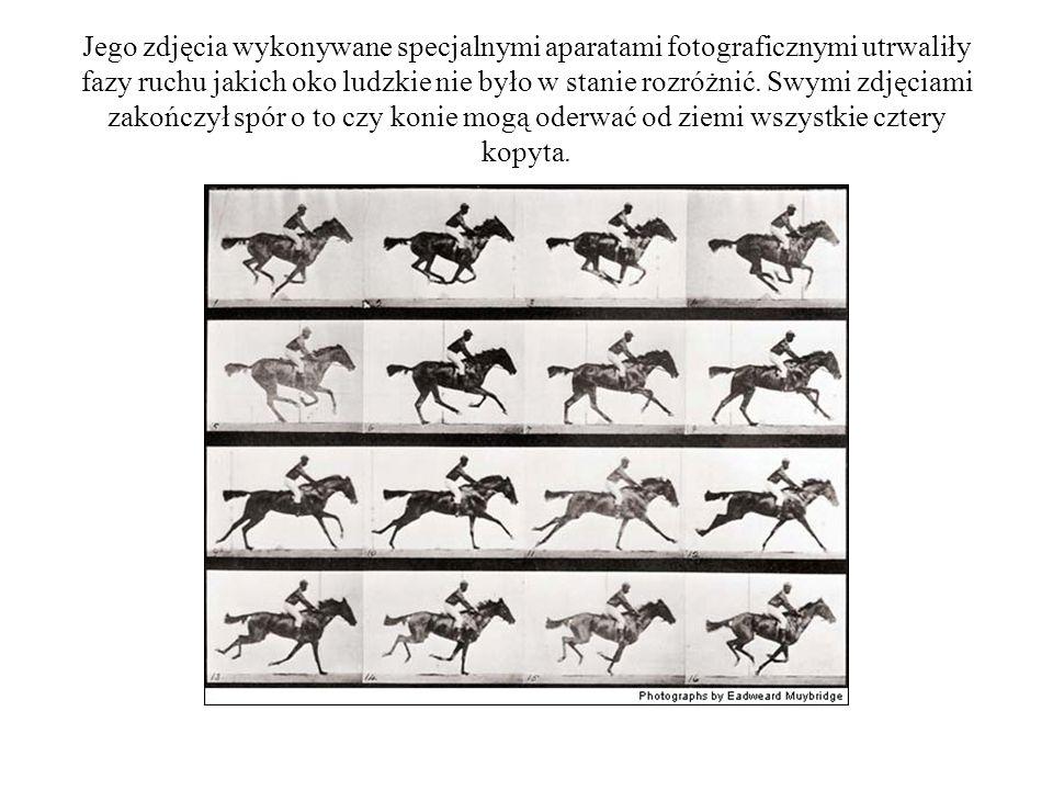 Jego zdjęcia wykonywane specjalnymi aparatami fotograficznymi utrwaliły fazy ruchu jakich oko ludzkie nie było w stanie rozróżnić. Swymi zdjęciami zak
