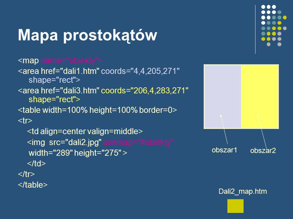 Mapa prostokątów <img src= dali2.jpg usemap= #obiekty width= 289 height= 275 > obszar1 obszar2 Dali2_map.htm