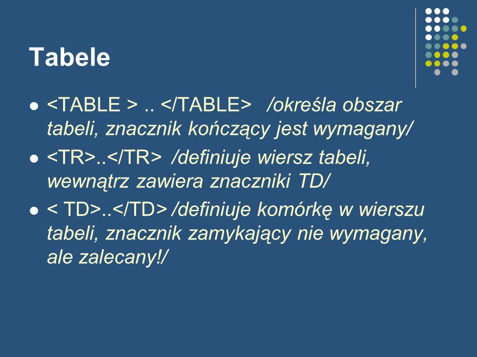 Tabele.. /określa obszar tabeli, znacznik kończący jest wymagany/..