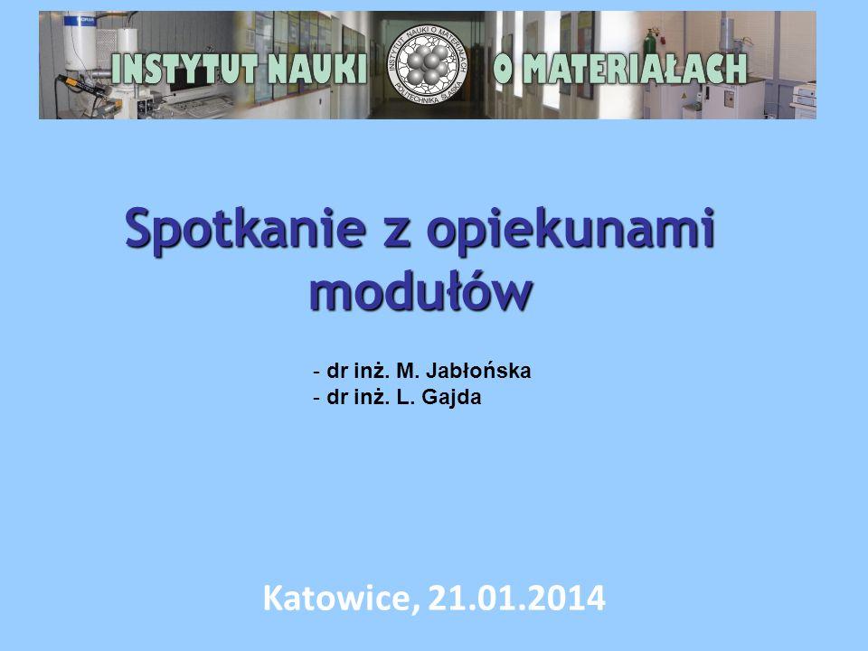 Spotkanie z opiekunami modułów Katowice, 21.01.2014 - dr inż. M. Jabłońska - dr inż. L. Gajda