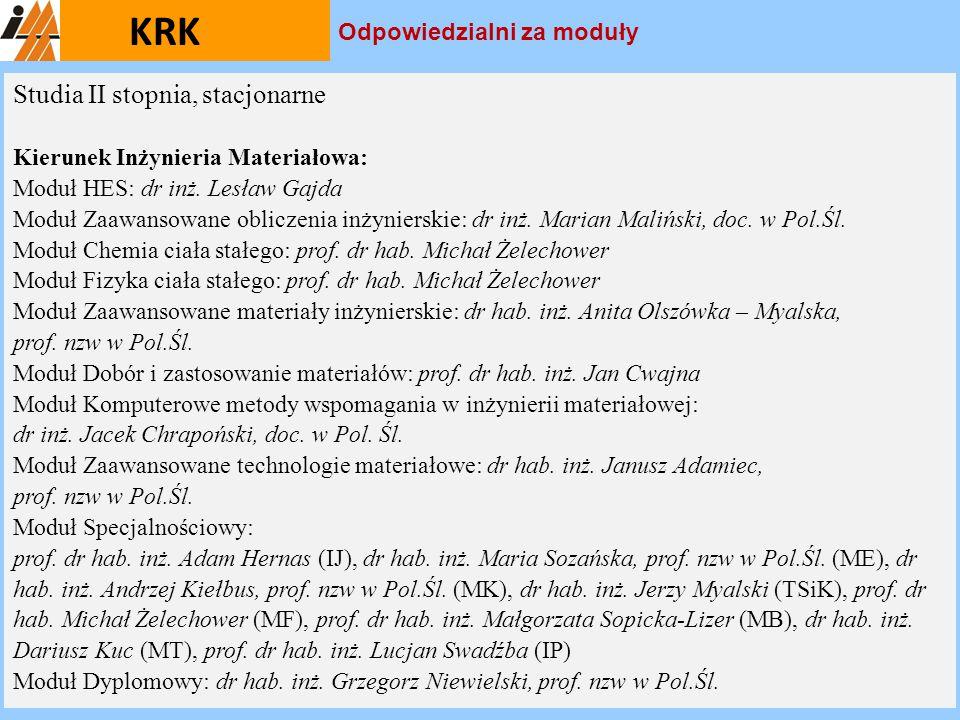 KRK Studia II stopnia, stacjonarne Kierunek Inżynieria Materiałowa: Moduł HES: dr inż. Lesław Gajda Moduł Zaawansowane obliczenia inżynierskie: dr inż