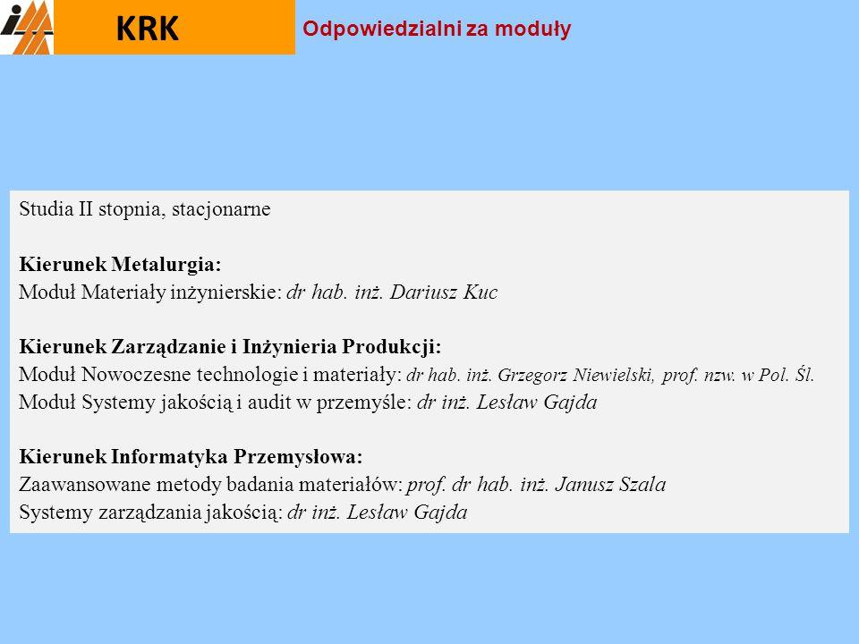 KRK Studia II stopnia, stacjonarne Kierunek Metalurgia: Moduł Materiały inżynierskie: dr hab. inż. Dariusz Kuc Kierunek Zarządzanie i Inżynieria Produ