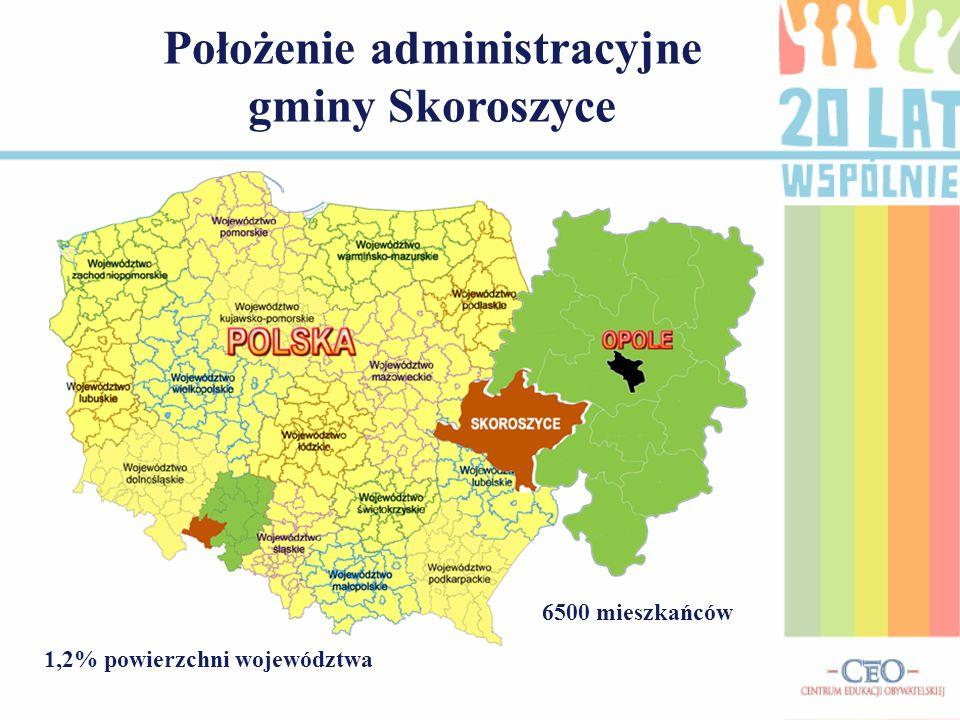 Położenie administracyjne gminy Skoroszyce 1,2% powierzchni województwa 6500 mieszkańców